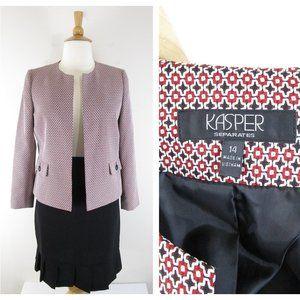 Kasper Plus Size Red Black Skirt Suit Career 14